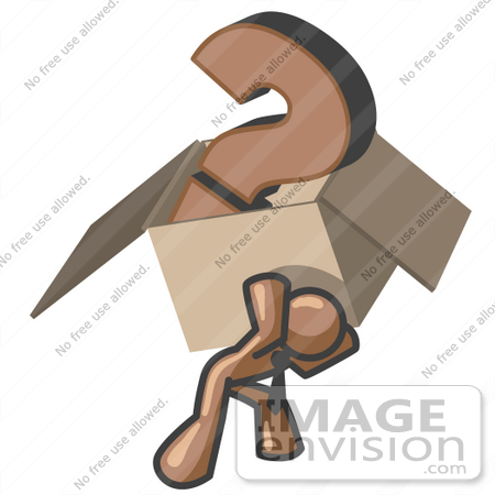 #36053 Clip Art Graphic of a Brown Guy Character Carrying a Box of Questions by Jester Arts