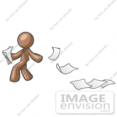 #36077 Clip Art Graphic of a Brown Guy Character Dropping Papers by Jester Arts