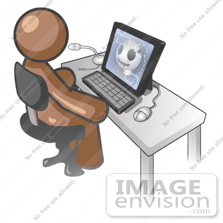 #36082 Clip Art Graphic of a Brown Guy Character Using a Computer by Jester Arts