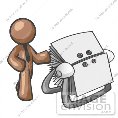 #36106 Clip Art Graphic of a Brown Guy Character With a Rolodex by Jester Arts