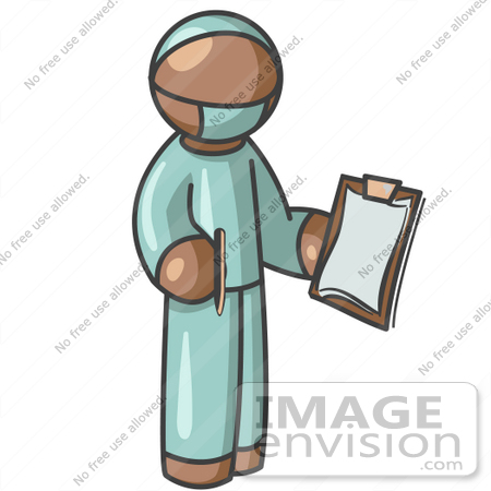#36112 Clip Art Graphic of a Brown Guy Character Surgeon by Jester Arts