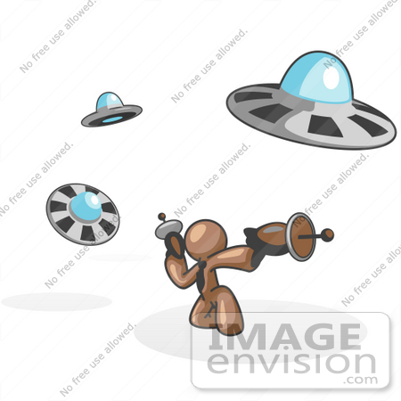 #36115 Clip Art Graphic of a Brown Guy Character Fighting UFOs by Jester Arts