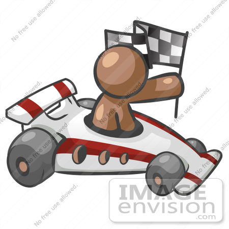 #36122 Clip Art Graphic of a Brown Guy Character Racing a Car by Jester Arts
