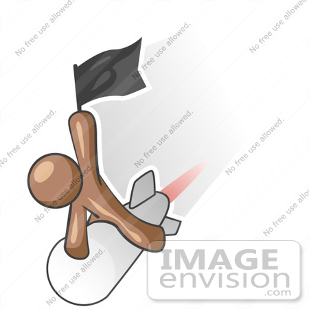 #36123 Clip Art Graphic of a Brown Guy Character on a Rocket by Jester Arts
