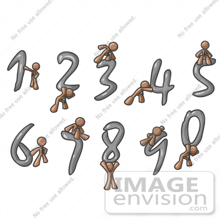 #36127 Clip Art Graphic of a Brown Guy Character With Numbers by Jester Arts