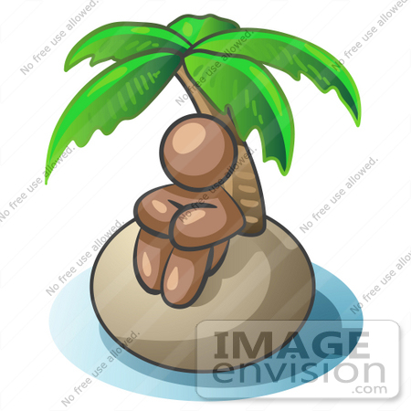 #36130 Clip Art Graphic of a Brown Guy Character on an Island by Jester Arts