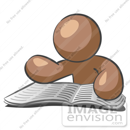 #36131 Clip Art Graphic of a Brown Guy Character Reading an Open Book by Jester Arts