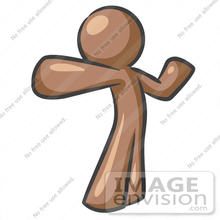 #36133 Clip Art Graphic of a Brown Guy Character Punching by Jester Arts