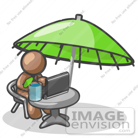 #36137 Clip Art Graphic of a Brown Guy Character Working Under an Umbrella by Jester Arts
