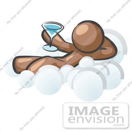 #36138 Clip Art Graphic of a Brown Guy Character Drinking on a Cloud by Jester Arts