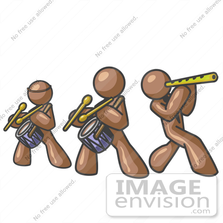 #36140 Clip Art Graphic of Brown Guy Characters Playing in a Band by Jester Arts