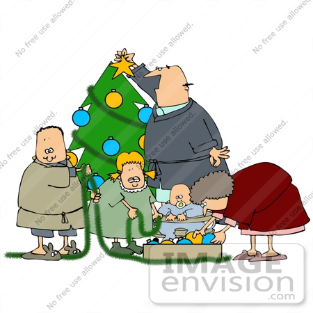 #36153 Clip Art Graphic of a Caucasian Family Decorating Their Christmas Tree by DJArt