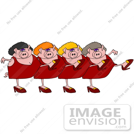 #36162 Clip Art Graphic of a Chorus Line of Chubby Pink Female Pigs in Heels and Dresses by DJArt