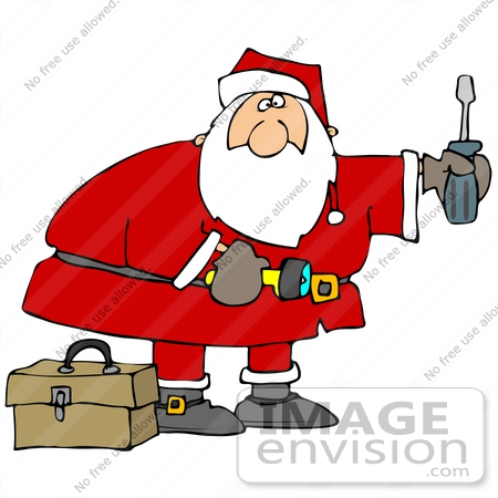 #36166 Clip Art Graphic of Santa With A Screwdriver, Flashlight And Tool Box, Doing Home Repairs by DJArt