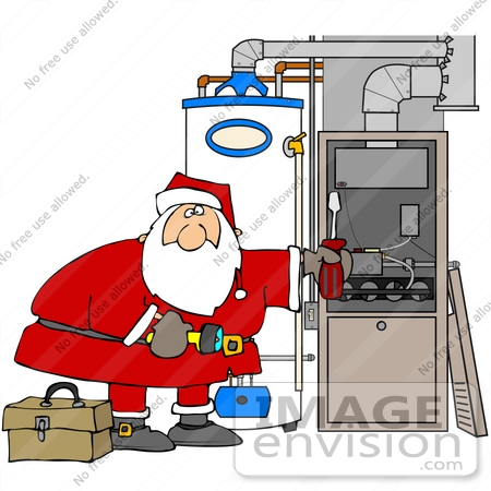 #36167 Clip Art Graphic of Santa Repairing A Furnace With A Screwdriver by DJArt