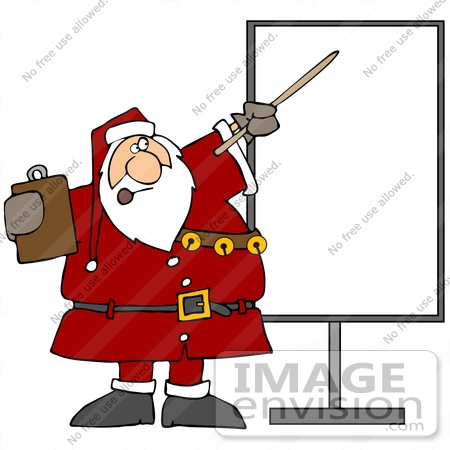 #36168 Clip Art Graphic of Santa Holding A Clipboard And Discussing Holiday Rules by DJArt