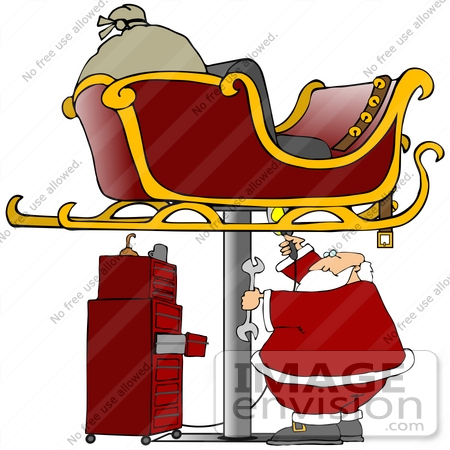 #36170 Clip Art Graphic of Santa Holding a Wrench and Light Under a Sleigh While Fixing it in a Garage by DJArt