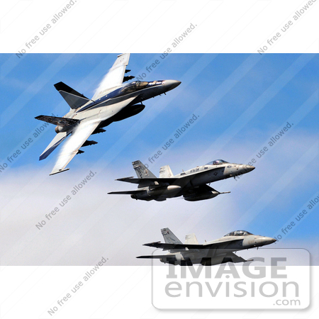 #36179 Stock Photo Of Three Military Aircraft In A Blue Sky by JVPD
