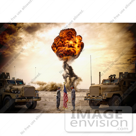 #36194 Stock Photo of a Bomb Exploding During a Re-Enlistment Ceremony of an Air Force Soldier by JVPD
