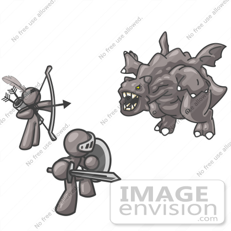 #36269 Clip Art Graphic of Grey Guy Characters Battling a Dragon by Jester Arts