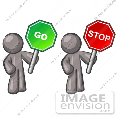 #36289 Clip Art Graphic of Grey Guy Characters Holding Stop and Go Signs by Jester Arts