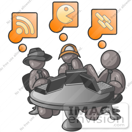 #36293 Clip Art Graphic of Grey Guy Characters on Laptops in an Internet Cafe by Jester Arts