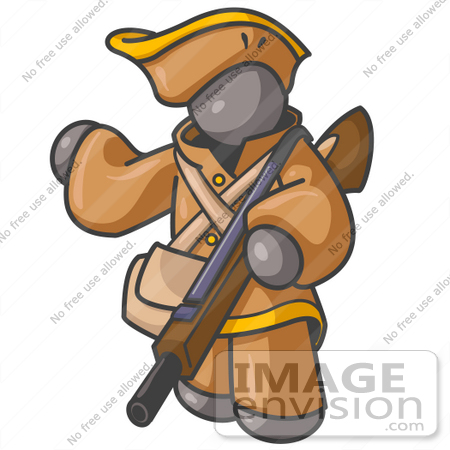 #36306 Clip Art Graphic of a Grey Guy Character Hunter With a Rifle by Jester Arts
