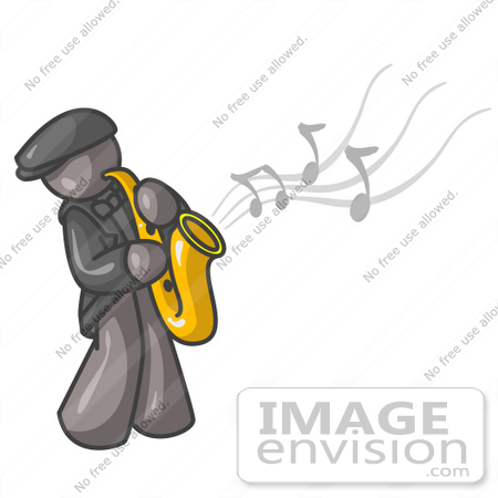 #36317 Clip Art Graphic of a Grey Guy Character Playing Jazz Music With a Sax by Jester Arts
