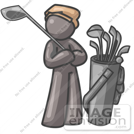 #36318 Clip Art Graphic of a Grey Guy Character Golfing by Jester Arts