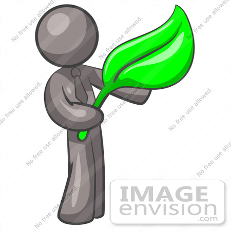 #36340 Clip Art Graphic of a Grey Guy Character Holding a Green Leaf by Jester Arts