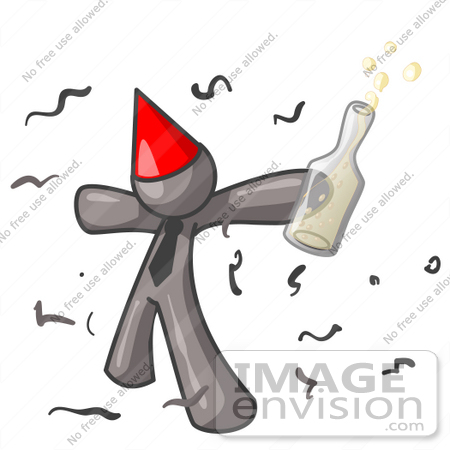 #36355 Clip Art Graphic of a Grey Guy Character Partying by Jester Arts