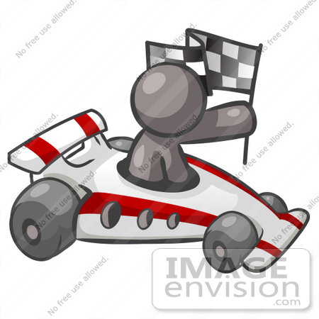Auto Racing Clip  Graphic on 36363 Clip Art Graphic Of A Grey Guy Character Driving A Race Car By