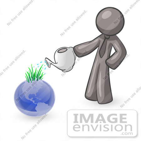 #36376 Clip Art Graphic of a Grey Guy Character Watering Planet Earth by Jester Arts