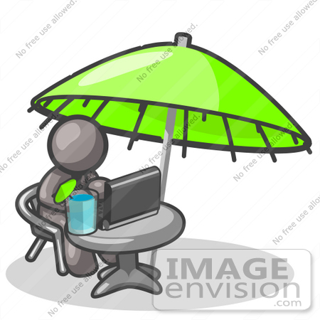 #36384 Clip Art Graphic of a Grey Guy Character Working Under an Umbrella by Jester Arts