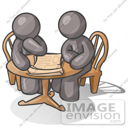 #36393 Clip Art Graphic of Grey Guy Characters Sitting at a Table and Looking at Papers by Jester Arts