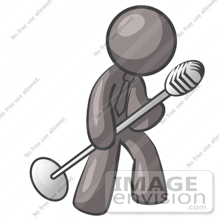 #36405 Clip Art Graphic of a Grey Guy Character Tipping a Microphone by Jester Arts