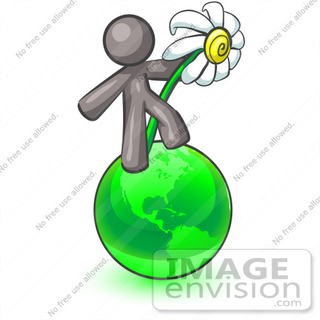 #36406 Clip Art Graphic of a Grey Guy Character With a Daisy on Earth by Jester Arts