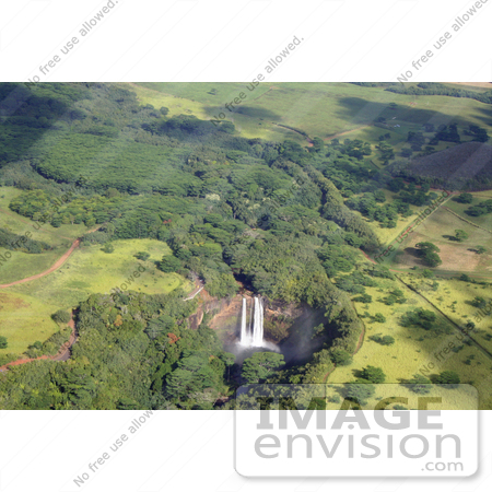 #36531 Stock Photo of an Aerial View Of Wailua Falls And Its Surrounding Green Landscape In East Kauai, Hawaii by Jamie Voetsch
