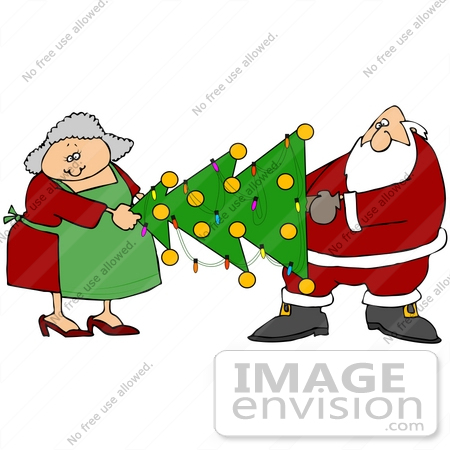 #36575 Clip Art Graphic Of Santa Claus And Mrs Claus Moving A Decorated  Christmas Tree
