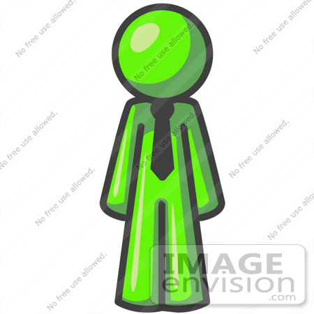 #36585 Clip Art Graphic of a Lime Green Guy Character Wearing a Tie by Jester Arts