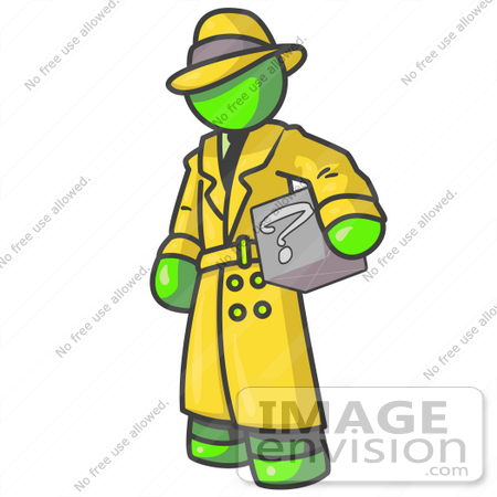 #36592 Clip Art Graphic of a Lime Green Guy Character Investigator Carrying a Box by Jester Arts
