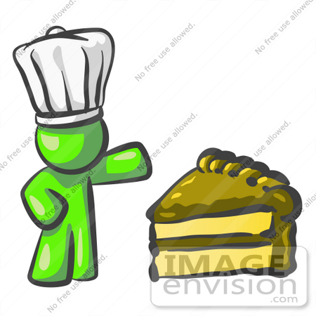 #36608 Clip Art Graphic of a Lime Green Guy Character Chef With Chocolate Cake by Jester Arts