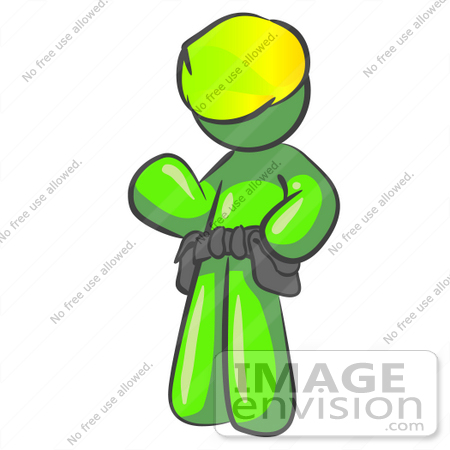 #36609 Clip Art Graphic of a Lime Green Guy Character Wearing a Tool Belt and Waving by Jester Arts