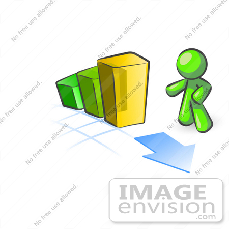 #36611 Clip Art Graphic of a Lime Green Guy Character With a Bar Graph by Jester Arts