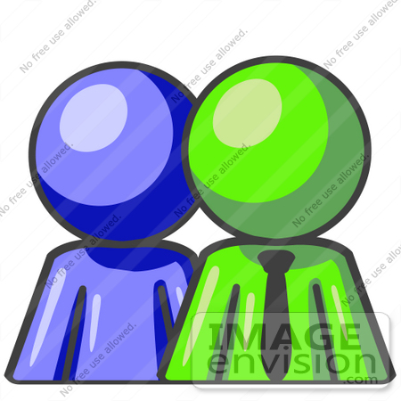 #36612 Clip Art Graphic of a Lime Green Guy Character With a Blue Employee by Jester Arts