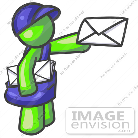 #36614 Clip Art Graphic of a Lime Green Guy Character Delivering Mail by Jester Arts