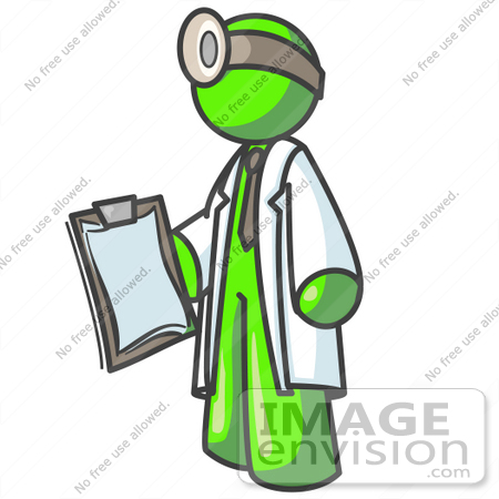 #36619 Clip Art Graphic of a Lime Green Guy Character Doctor Wearing a Headlamp and Holding a Clipboard by Jester Arts