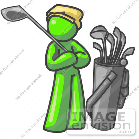 #36626 Clip Art Graphic of a Lime Green Guy Character Golfing by Jester Arts