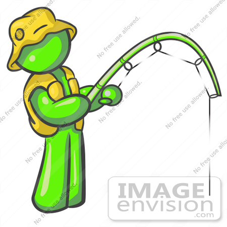 #36631 Clip Art Graphic of a Lime Green Guy Character Fishing by Jester Arts