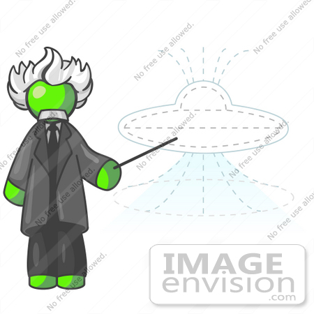#36634 Clip Art Graphic of a Lime Green Guy Character As Einstein, Pointing to a UFO by Jester Arts